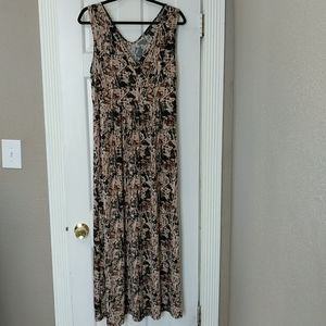 Forever Brown and Black Sleeveless Maxi Dress
